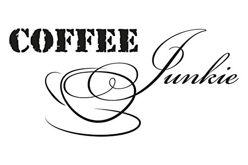universumsum Wandtattoo Coffee Junkie Creme 120 x 57 cm bsm038-120-837 Wandaufkleber Wandsticker Wandtattoo Küche selbstklebend