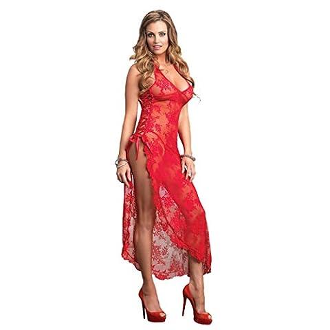 Wunhope Femme lingerie Sexy Erotique en Spitze de Rose Fleur Style Perspective Push up Avec G-String Mariée Jupe de sommeil Bodydolls Longue Nuisette-Grande Taille S-6XL (2XL, Rouge)