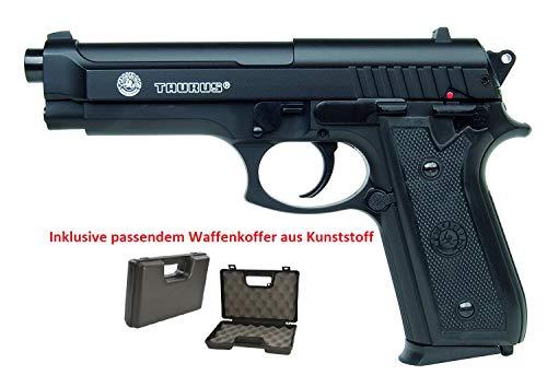 KOSxBO Set: Taurus PT92 mit BAX System Softair Pistole mit Metal Slide - Stärke 0,5 Joule inklusive Waffenkoffer und Premium BBS