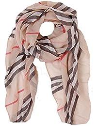 Nice light weight chiffon gauze check designer style scarf beige