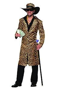 Forum Novelties 78886Funky leopardo Pimp tamaño de la chaqueta y sombrero, en el pecho 42-44-inch