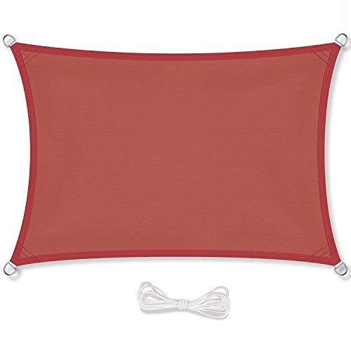ANREA Tenda a Vela Impermeabile Rettangolare 4 x 6 Metri Protezione Solare Respirante Anti UV Giardino Esterni Beige, Terracotta
