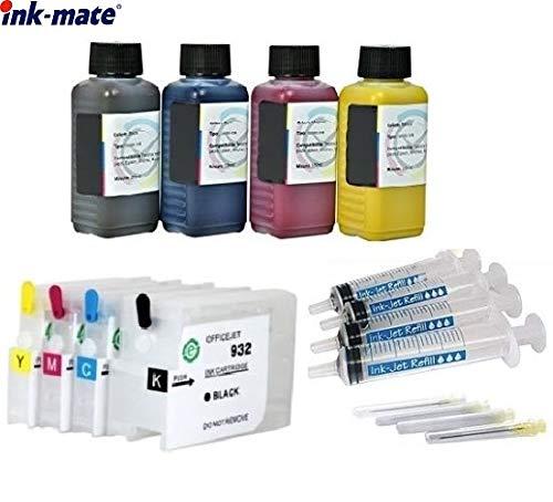 Wiederbefüllbare Patronen HP 932 + 933 mit Auto Reset Chips + 400 ml Ink-Mate Premium Nachfüll-Tinten für OfficeJet 6100 e-Printer, 6600 e-All-in-One, 6700 Premium, 7110, 7510, 7610, 7612 -
