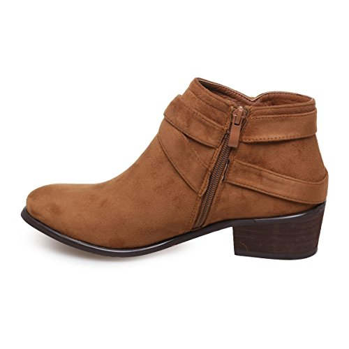 La Modeuse - Bottines en simili daim dotées de brides décoratives Camel