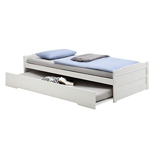 Tandembett Funktionsbett Schubladenbett Auszugsbett Bett LORENA in weiss lackiert 90 x 200 cm Liegefläche