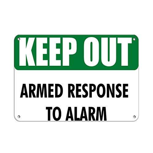JeremyHar75 Warnschild, Schild aus Aluminium mit Aufschrift Keep Out Armed Response to Alarm, Warnschild, lustige Sicherheitsschilder, für Haus Hof, 8 x 12 cm