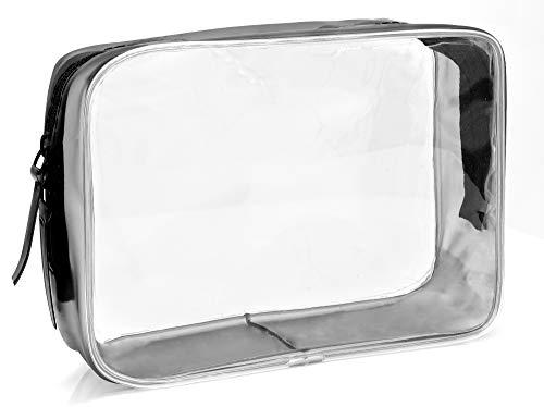 MyGadget Transparente Kosmetiktasche Größe M - Kosmetik Travel Make-Up Tasche (PVC Wasserdicht) Flüssigkeiten für Flugzeug Handgepäck Kulturtasche (Tasche Für Flüssigkeiten)