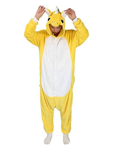 Très chic mailanda pigiama donna uomo animale cosplay animato costume camicie da notte carnevale halloween (xl per altezza 178-188cm, giallo unicorno)