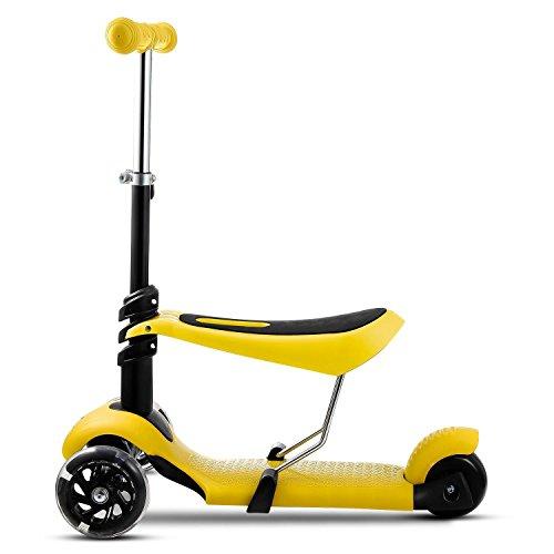 mymotto monopattino 3-in-1City Roller Scooter a 3 ruote, con manico regolabile T-bar e Seggiolino rimovibile per bambini/bambine, giallo, Taille Umique