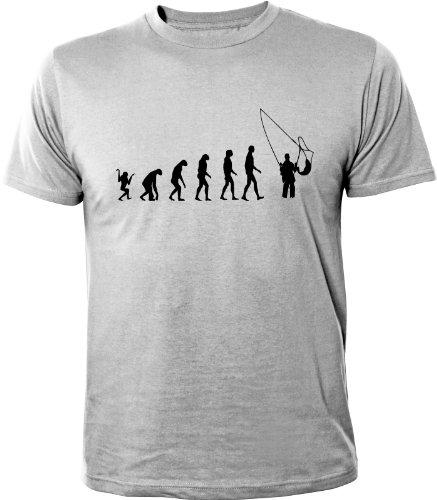 Mister Merchandise Cooles Herren T-Shirt Evolution Angeln Angler Fliegenfischen Fishing , Größe: L, Farbe: Grau