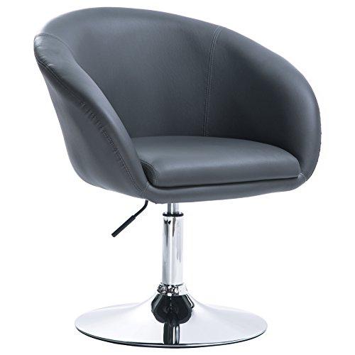 WOLTU BH24gr-1 Barsessel 1er Set, stufenlose Höhenverstellung, verchromter Stahl, Kunstleder, Gut Gepolsterte Sitzfläche mit Armlehne und Rücklehne, Grau