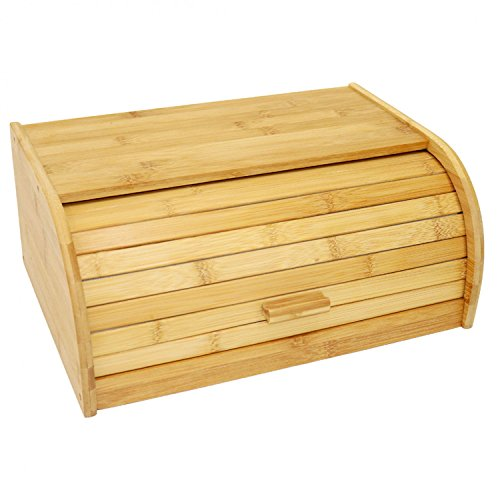 Oypla Single Layer Roll Top Bambus Holz Brot Bin Küche Lagerung (Bin Möbel Lagerung)