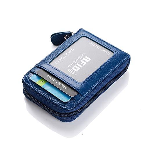 Leder Karten Geldbörse Leder Kreditkartenetui RFID Scheckkarten Kartenetui Visitenkartenetui Hülle-Halter-Schutz Damen Herren 12 Fächer (vertikale-Blau)