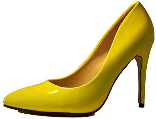 3-W-Hohenlimburg Luxuriöse Stiletto Pumps High Heels Lackschuhe in Neon-Gelb, Damenschuhe, Schuh für Damen, der Schuh mit einmaliger Optik. Hier: Gelb. PHH130. Größe 36.