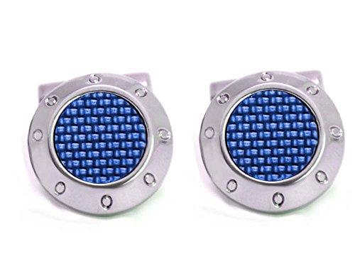 Manschettenknöpfe Carbon blau rund 18 mm! - 3D-Effekt! + Silberbox