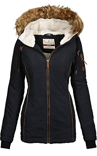 Urban Surface warme Damen Winter Jacke Parka Mantel Winterjacke Teddyfell B505 [B505-Schwarz-Gr.XL]