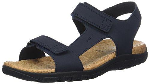 Geox strada c, sandali con cinturino alla caviglia uomo, blu (blue), 46 eu