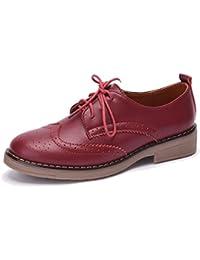Moonwalker Zapatos con Cordones de Cuero Mujer Oxford Cuña (EUR 36,Negro)