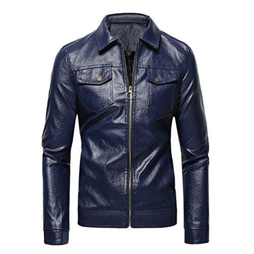 Qinhanjia Herren Vintage Distressed Retro Lederjacke Motorrad Reißverschluss Leder Biker Jacke Blusen, Retro Einfarbig Lederjacke Motorradjacke Top (Dunkelblau, XXXXL)