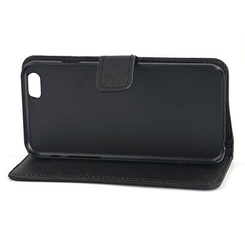 Apexel Étui à rabat avec porte-cartes, stylet et film protecteur d'écran HD pour 14cm iPhone 6Plus–Noir, Red, 16.2*8.2*1.7 noir