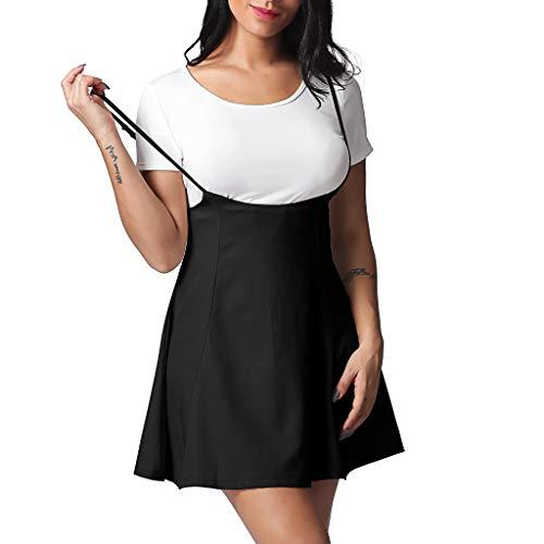 Mit Hosenträgern Kostüm - feiXIANG Damen Frauen Schlankes Hosenträger Kleid der Mode schwarz Rock mit Schulterklappen gefalteten Kleid (S, Schwarz)