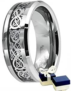 Tungsten Ring - New Boxed Mens Silver Celtic Dragon Inlay TUNGSTEN Comfort Fit Wedding Band Ring - Size P/Q ( Available in Most Sizes )