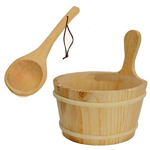 Saunakübel mit Holzkelle Sauna Saunaeimer Kübel Holz-Eimer mit Kunststoffeinsatz und einer Schöpfkelle Saunakübel Wasserkelle als hochwertiges Sauna-Zubehör mit Tragegriff