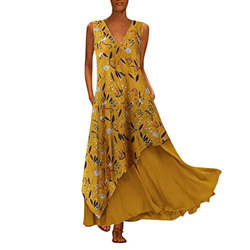 TYTUOO Plus Size Damen Maxikleid Vintage V-Ausschnitt Spleißen Floral Bedruckte ärmellose Kleider
