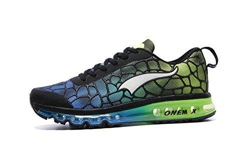ONEMIX Air Uomo Scarpe da Ginnastica Corsa Sportive Running Sneakers Fitness Interior Casual all'Aperto Cielo Blu/Verde Dimensione 41 EU