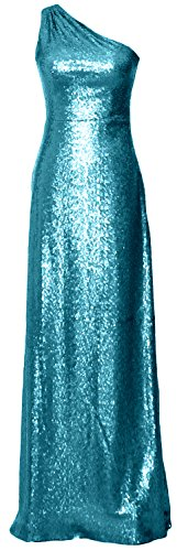 MACloth Women One Shoulder Long Bridesmaid Dress 2017 Sequin Formal Evening Gown Turquoise