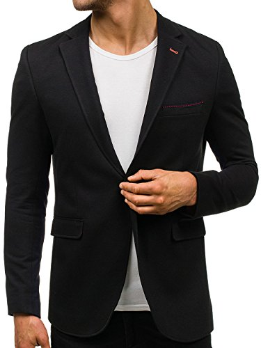 BOLF Herren Sakko Anzug Sweatjacke Classic Blazer 406 Schwarz XXL/56 [4D4] (Zwei-knopf-anzug-blazer)