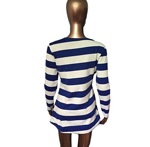 Damen Kleid Covermason Langarm Gestreiftes Weihnachten Hirsch Muster Runder Kragen Dress Blau