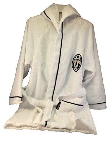 Juventus 9633 065 2130 Accappatoio in Microspugna Adulto Taglia S, 100% Cotone, Bianco/Nero, 25 x 28 x 5 cm