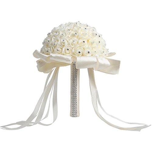 Dchaochao da sposa rose mazzi di fiori con strass, fiori artificiali per matrimoni party decor medium beige