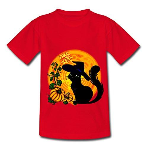 n Schwarze Katze Kürbisse Trick Or Treat Teenager T-Shirt, 134/146 (9-11 Jahre), Rot ()