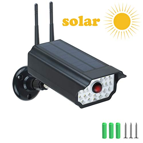 Telecamera finta sorveglianza,timoom led luce energia solare e sensore di movimento videocamera fittizie 2200mah con led rosso lampeggiante,impermeabile ip66 per esterno