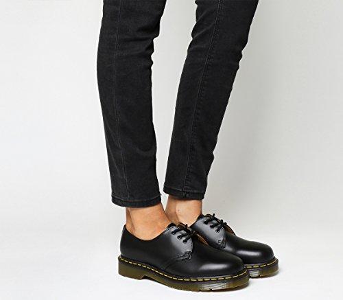 Dr. Martens - 1461 Black Smooth Comfort, 11838002, 3-Loch Schuhe schwarz mit gelber Naht Größe 39 (UK 6)