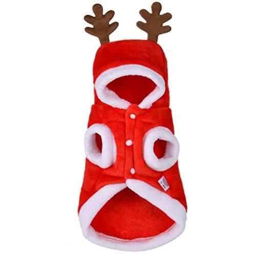 Santa Cute Mädchen Kostüm - Feidaeu Christmas Dog Clothes Cute Kostüm Santa Claus Winter Pet Coat Cotton Funny Hoodies für Cat Dog