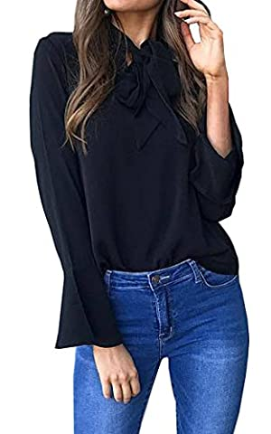 Hibluco Women' Casual Long Sleeve T-shirt Tie Neck Blouse Asymmetry
