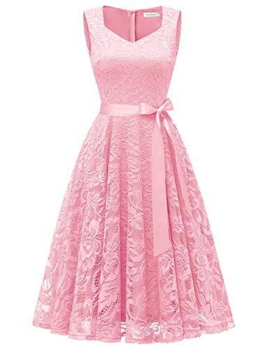 GardenWed Damen Elegant Spitzenkleid Strech Herzform Abendkleid Cocktailkleider Partykleider Pink XL -