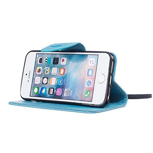 Apple iPhone 6s Plus PU Leder Smart Case Hülle,iPhone 6 Plus Case Glitzer,Ekakashop Fashion Design Grau Glänzend Muster Bookstyle Magnative Flip Buchstil Schale Tasche Magnet mit Standfunktion Kartenf Blau Vogelfedern