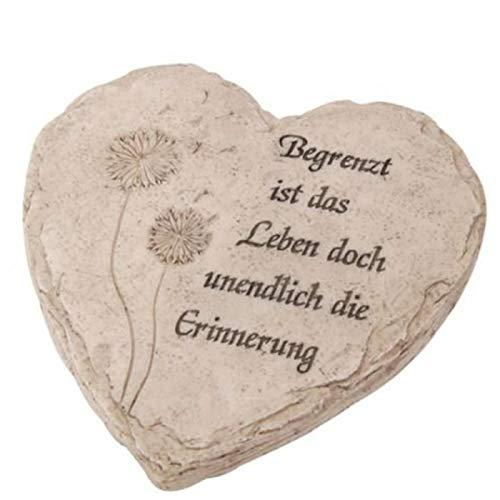 Shophaus24 Grabdeko Herz mit Spruch. Begrenzt ist das Leben doch unendlich die Erinnerung. D 18 cm. 1 Stück