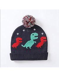 0d6014929 FaSoLa Patrón de Dinosaurio de Invierno Sombrero bebé Punto Jersey Gorra de  protección Infantil protección auditiva