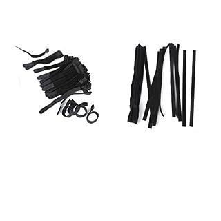 IPOTCH Klett-Kabelbinder Kabelbinder Klett Selbstklebend Wiederverwendbar Klettverschluss Kabel Klett Kabelklettband 130 Stück Schwarz Farbe