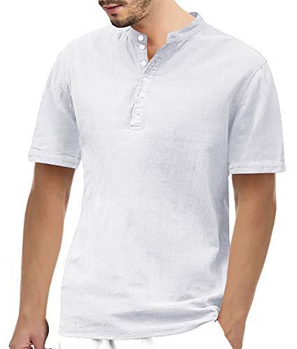 Herren Shirt Ärmellänge (Gemijacka Herren Leinenhemd Henley Freizeithemd 3/4 Ärmellänge & Kurzarm Regular Fit Kragenloses Shirt)