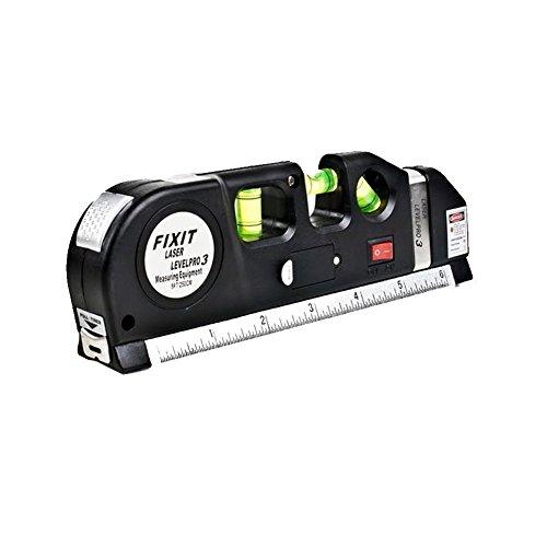 valink angepasst Standard und metrisches Laser-Wasserwaage Lineal, Messen Mehrzweck-Laser Line mit 8ft + Maßband Lineal, Handwerker Selbstnivellierender Laser gleich–18,8x 3,5x 6,3cm