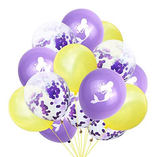 Globos de sirena, globos de confeti Geila Suministros para fiesta de cumpleaños Globos de colores brillantes Fiesta infantil Aniversario de bodas Celebración de cumpleaños Decoración (amarillo + púrpura)