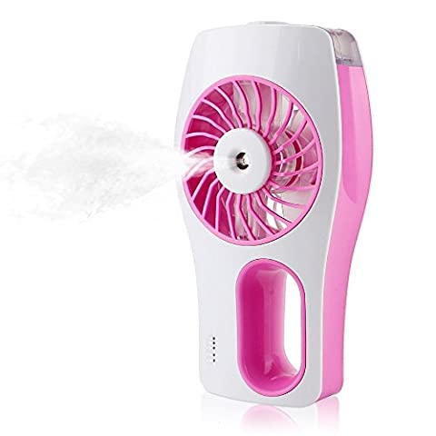 Handheld USB Misting Cooling Fan Humidifier Oil Diffuser mini beauty replenishment fan Rechargeable Battery / USB Operated for Beauty Home, Office and Travel (Pink)