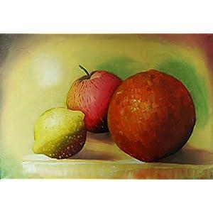 Ölgemälde - Apfel, Orange, Zitrone - 35 x 25cm - Unikat - auf selbstgefertigter Leinwand
