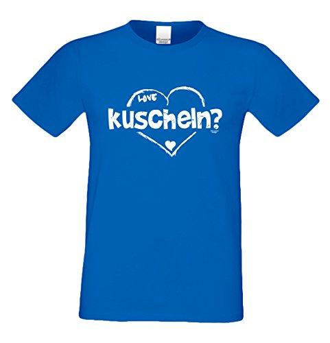 Geschenk Valentinstag :-: Herren kurzarm T-Shirt :-: kuscheln :-: Geschenkidee für ihn Männer :-: Geburtstagsgeschenk Vatertagsgeschenk Weihnachtsgeschenk :-: Farbe: royal-blau Royal-Blau